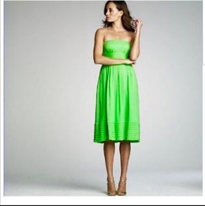 J Crew Lime Green Strapless Sun Dress 100% Silk